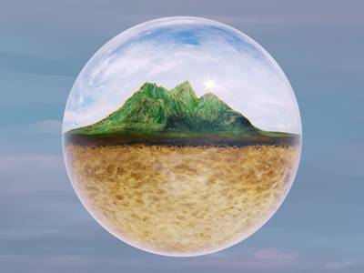Tiny Mountain mountain ball glass illustration gif cinema 4d render animation c4d 3d