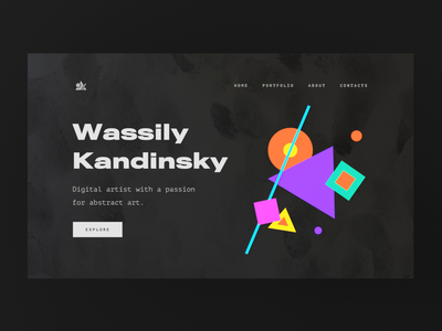 Kandinsky homepage. loop web website parallax motion ux ui gif interface illustration design cinema 4d render animation c4d 3d