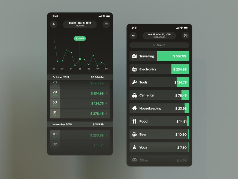 Expenses app app expenses c4d render iphone ios mobile design ui