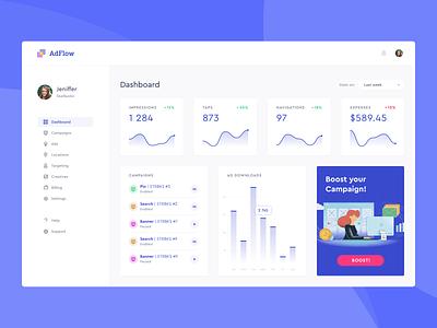 Campaign dashboard sidebar navigation minimal clean cards webdesign website design interface dashboad ux ui