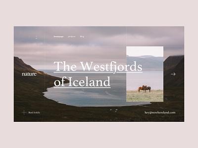 Iceland Nowhereland travel art grid layout iceland photography minimal nature icon typography design pastel colors ux ui
