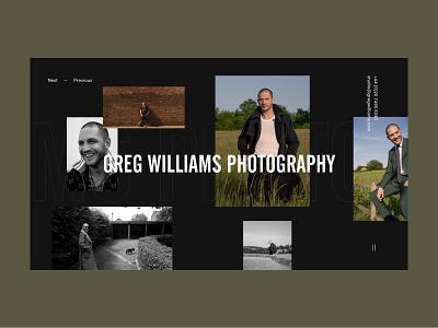 Greg Williams Photographer Personal Website magazine photoshoot collage minimal personal website portfolio grid layout celebrity photographer photography art design ux ui