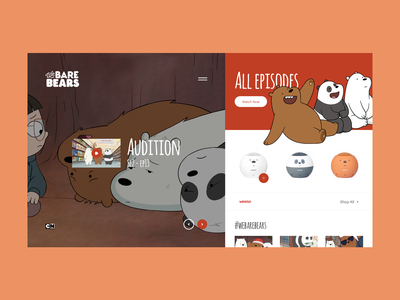We Bare Bears Cartoon Page merch web tv design store cartoon tvseries tv grid minimal typography layout design ux ui