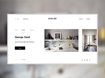 Rent Me — Rental Concept concept web webdesign interior apartment rent website logo interface interaction art grid minimal layout typography design ux ui