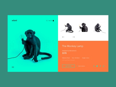 Monkey Lamp — Product Page lamp website webdesign e commerce interface interaction art grid minimal layout typography design ux ui