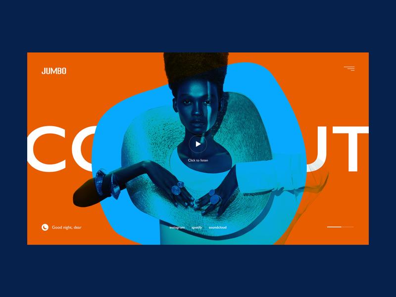 Jumbo player bright webdesign interface art grid minimal layout typography design ux ui