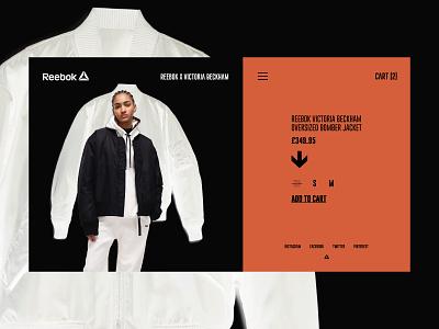 Reebok x Victoria Beckham — Product store clothes ui ux design layout minimal grid typography interface web webdesign website e commerce sport reebok
