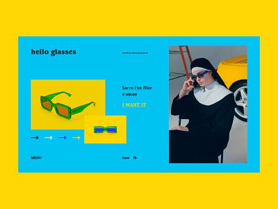 Hello Glasses store fashion fashion store glasses bright website webdesign web art interaction interface typography grid minimal layout design ux ui