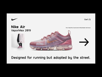 Nike Air — VaporMax sneakers sports nike store fashion motion e commerce animation website webdesign interaction web interface typography grid minimal layout design ux ui