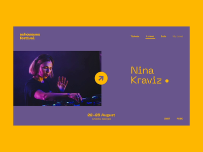 Echowaves Festival — Nina Kraviz artist georgia music festival motion design motion animation interaction website webdesign web art interface typography grid minimal layout design ux ui