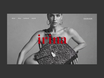 Irina — Unlocked #INMYCALVINS fashion ecommerce promo interaction website webdesign interface typography grid minimal layout design ux ui