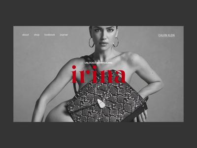 Irina — Unlocked #INMYCALVINS fashion ecommerce promo interaction website webdesign interface typography grid minimal layout design ux ui