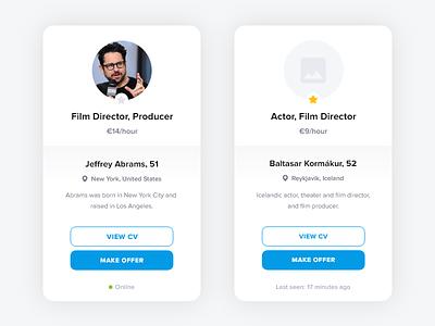 User Card FREE ADOBE XD offer cv producer director card user work job
