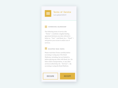 Terms of Service   DailyUI089