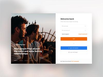 Log In - Tips & Tricks onboarding form orange webdesign ui ux friends travel sign in log in desktop app account