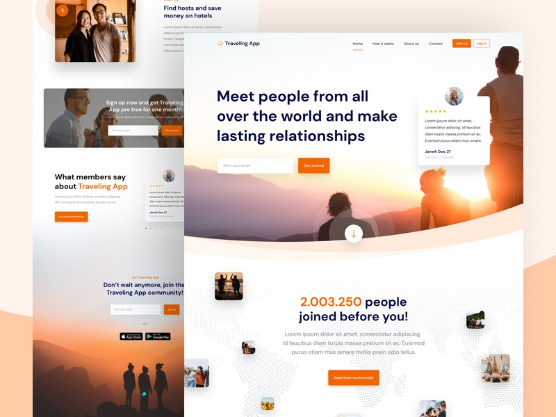 Traveling App - Landing Page Part 2 ux website ui traveling travel social landingpage landing homepage friends