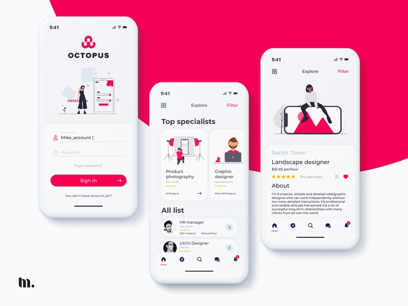 Octopus search | UX/UI design mobile application app illustration uxdesign uidesign app design figma art minimal branding app ui dribbble uiux application design app ui ux application logo ui ux illustration design app