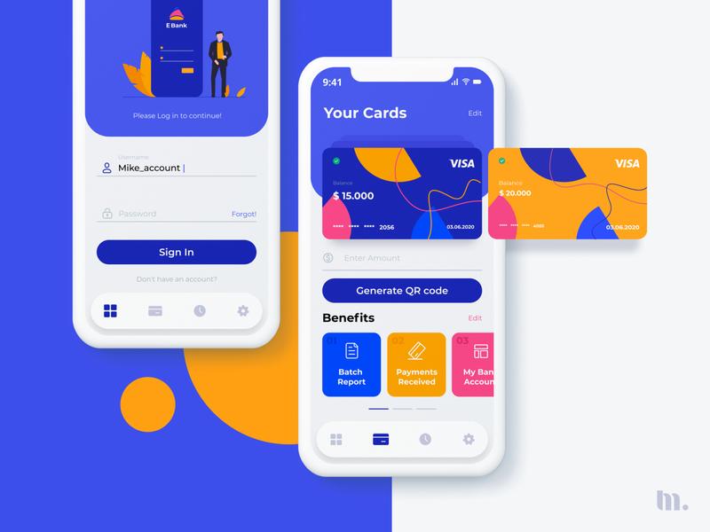 E Bank |  UX/UI design mobile application