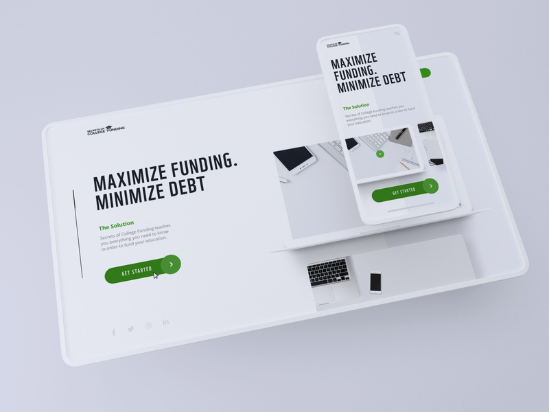 Secrets of college funding | UX/UI design 3dsmax 3d lending concept website design website landing page design dribbble web app ux clean design typography ui