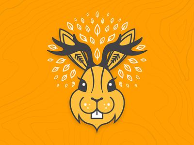 Shop the Jackalope Collection sketch drawing gold yellow antlers poster print apparel shop animal leaves tree deer bunny rabbit jackalope design vector illustration