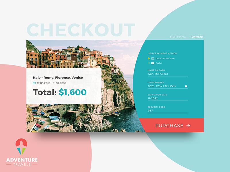 UI Challenge 02 - Credit Card Checkout ui forms e-commerce dailyuichallenge credit checkout