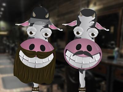 Tattoo Shop Cow Evolution vector cow illustration character illustrator