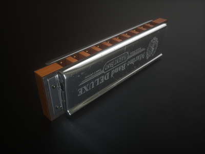 Harmonica octane render 3d art harmonica music product props illustration cinema4d cinema 4d 3d