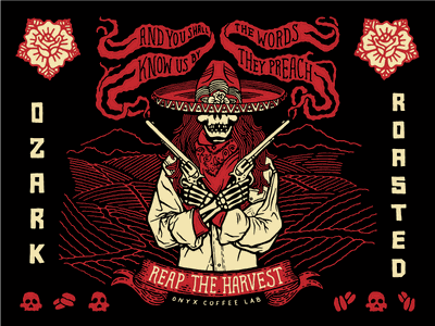 Fear The Reaper sombrero bandito packaging six shooter coffee smoke gun rose skull lettering illustration
