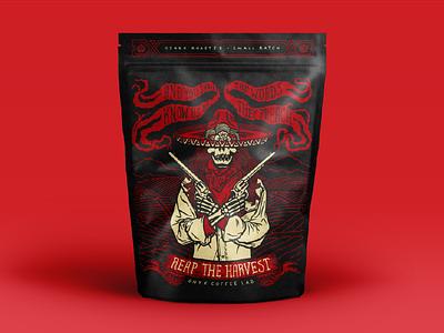 Reaper Pouch sombrero bandito packaging six shooter coffee smoke gun rose skull lettering illustration
