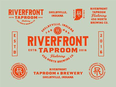 Riverfront Taproom logo monogram wordmark lockup indiana badge alcohol beer taproom brewery identity branding