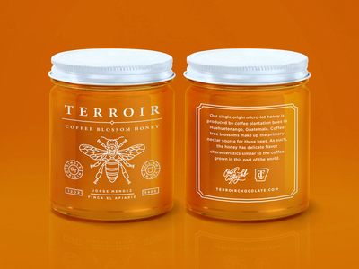 Terroir Coffee Blossom Honey packaging honey skull monoline monogram insect identity coffee branding bee badge