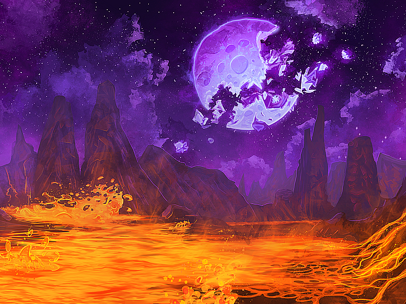 Searing Mountain art digital painting procreate is that molten rock holy sh-