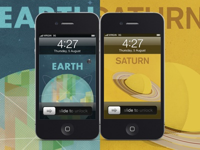 iPhone Wallapers beyondearthproject kickstarter design yellow butterscotch astronomy space retro vintage titan planets planet saturn posters poster