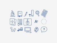 School Icons: wireframe style
