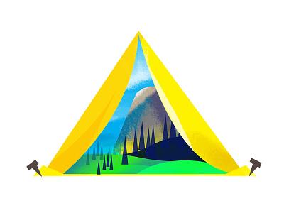 View of Half Dome tent forest mountain scenery illustration california half dome yosemite camping google