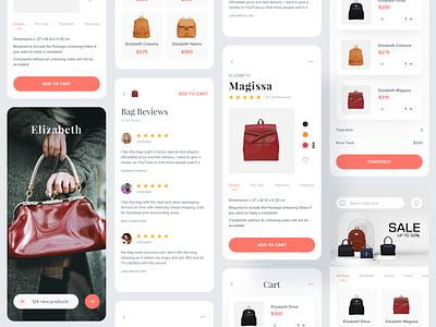 Elizabeth - Ecommerce Mobile App elizabeth bag store online store mobile shop shop bag shop marketplace design android app ui android fashion bag minimalist clean ecommerce