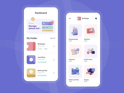 3D File Collection Mobile App illustration mobile app design 3d 3d file collection 3d ui design ui design minimalist clean ui