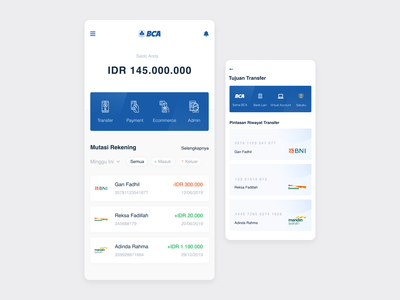 #Exploration - BCA Mobile Banking bank app finance bank ui clean product detail android app design dark theme ui android adobe xd minimalist clean