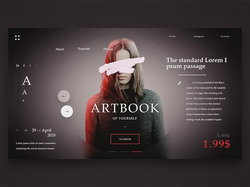 Artbook Webpage artbook woman gradient modern slider web portfolio gray fonts design ui ux