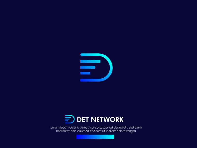 DET Network - D letter logo ui vector identity illustration business card app blue minimal icon lettering design branding brand logo design logo