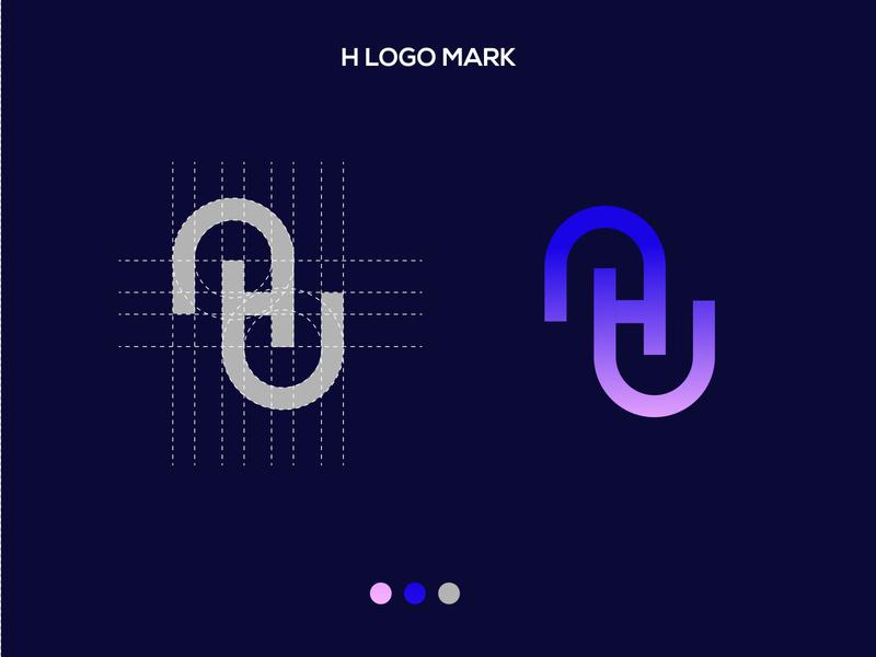 H letter brand logo mark ronypa logo mark h logo vector identity illustration app business card blue minimal icon lettering design branding brand logotype logo