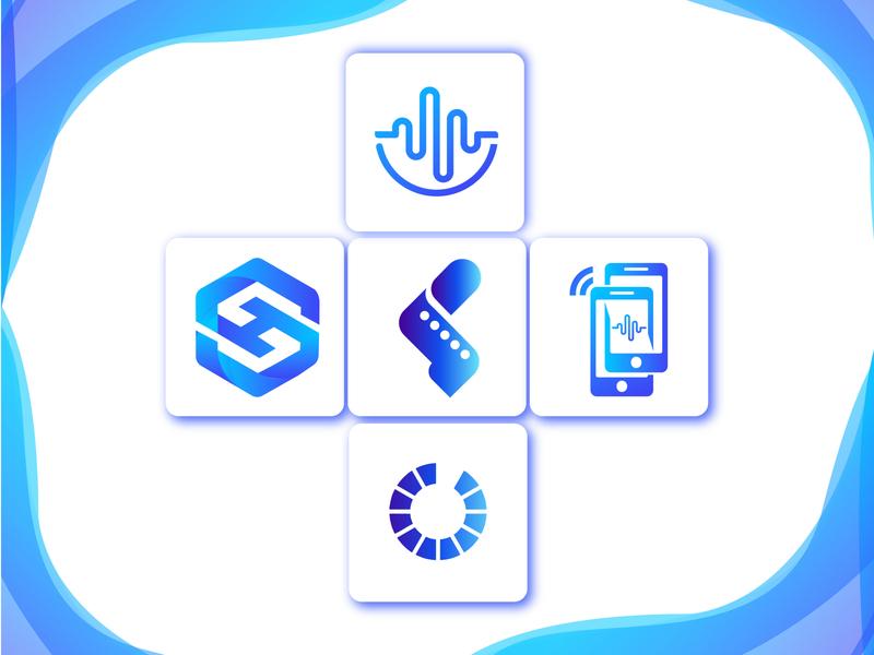 Modern logo icon mark blue minimal design lettering branding brand logo design music logo film logo modern logo network h logo logos sh logo logo