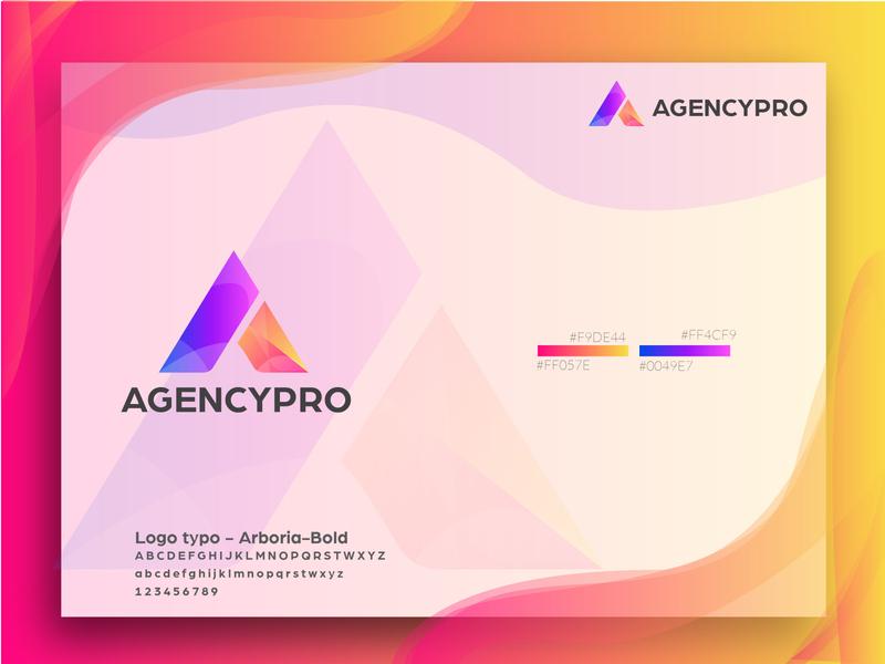 a letter logo - agencypro agency branding aletteraday a logo web typography illustrator app blue minimal icon lettering logo design branding brand