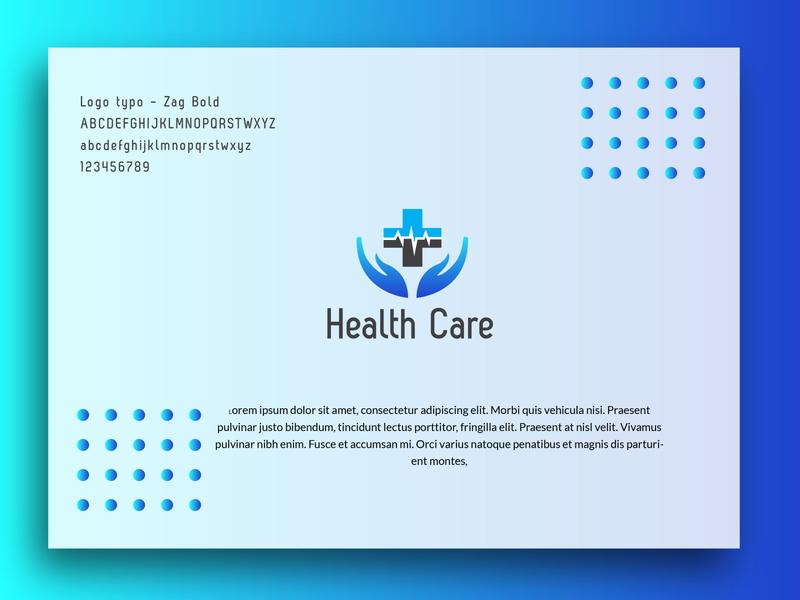 Health Care logo health care flat icon vector identity illustration business card app blue minimal brand