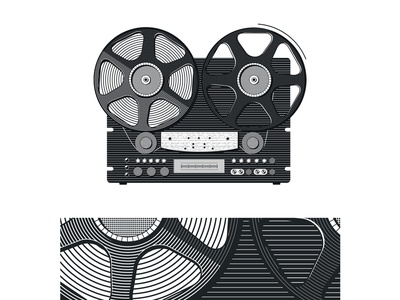 Vintage tape recorder vector illustration