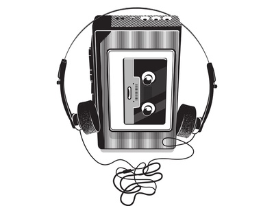 Vintage walkman vector drawing
