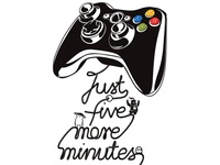 Just five more minutes vector illustration pad gamers game art vectorart illustration black and white t-shirt illustration vector