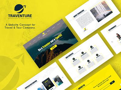 Traventure - A Travel Website Concept web ui web designer website design inspiration design daily ui website design ui ux design ui landing page graphic design