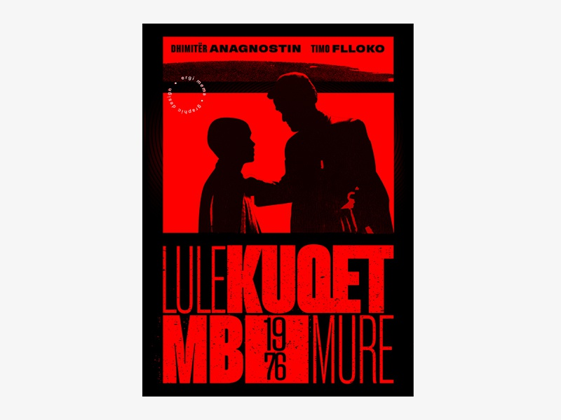 "Albanian Cinematography ""LULEKUQET MBI MURE"" 1976 typedesign design graphicdesgn graphic typogaphy poster design poster a day poster art swissposter swiss style poster"