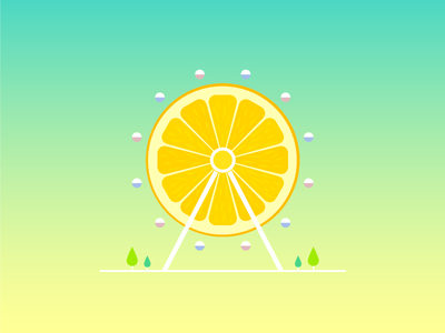 Orange Ferris Wheel vector scenery ferris wheel orange fruit illustrator illust illustration digital illustration digital art artwork